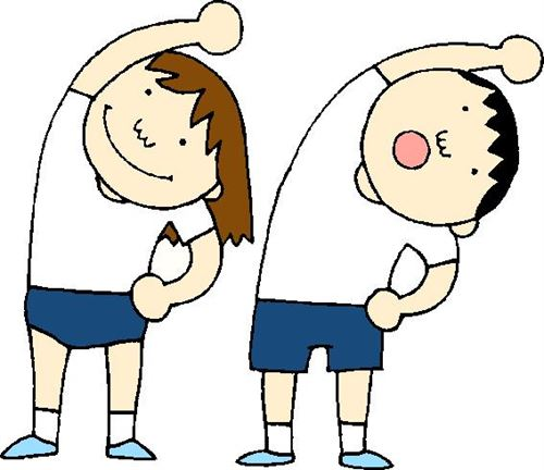 A clip art of two kids stretching